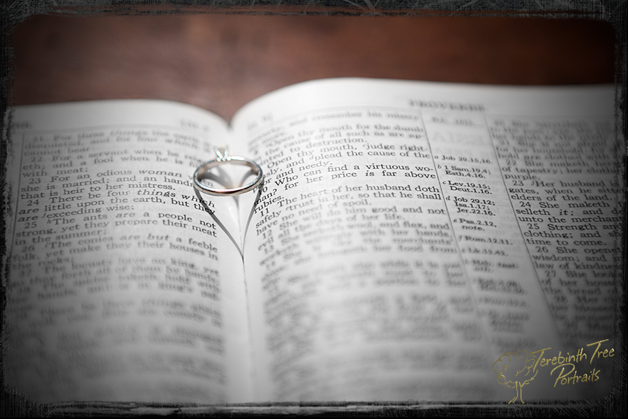 Photo of the wedding ring on a Bible