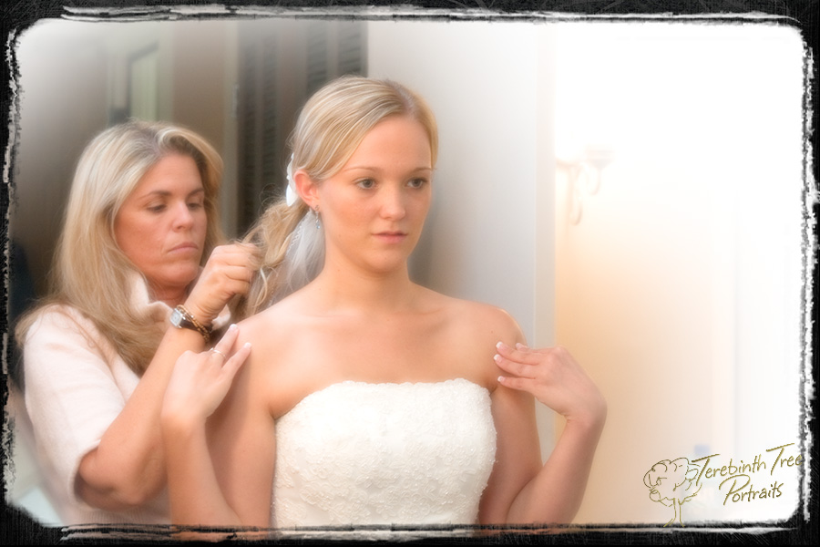 Brooke getting ready for her wedding at the Temecula Creek Inn