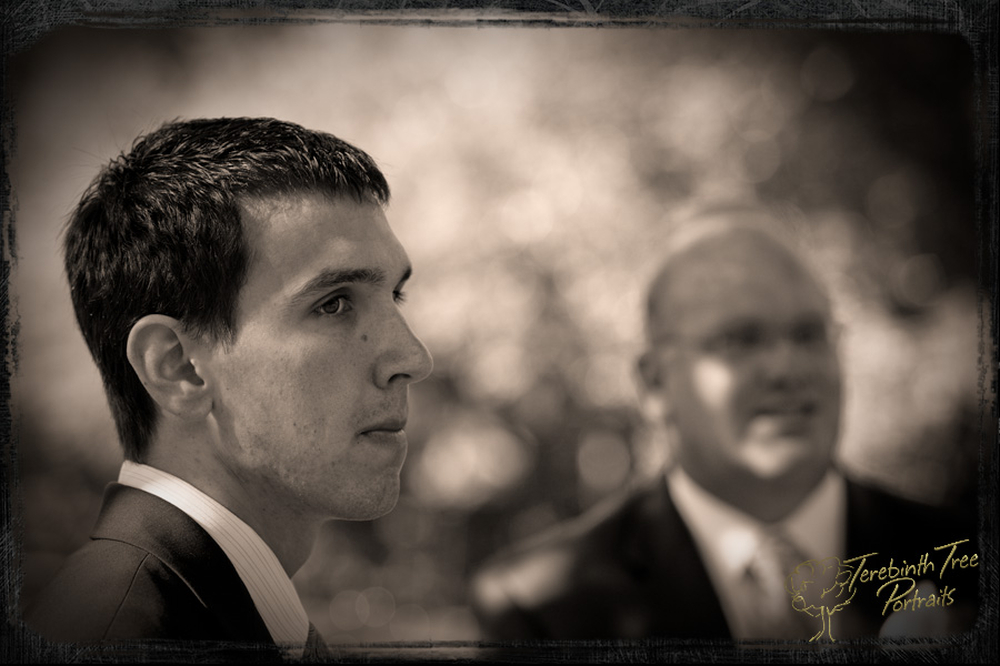 Daniel at his wedding in Temecula with his father in the background
