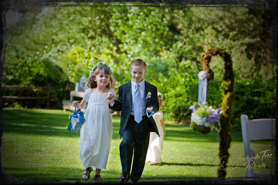 Photo of the ring bearer and flower girl at Brooke & Daniel's wedding at the Stone House