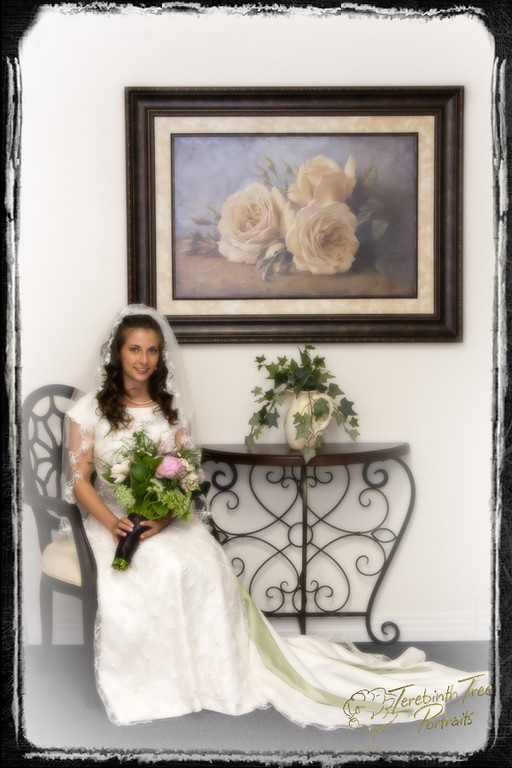 Photo of Chelsea seated at her wedding in Temecula