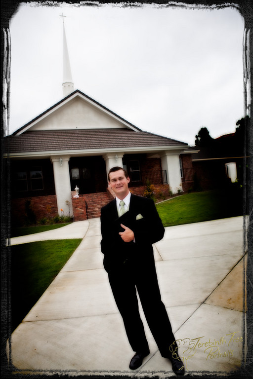 Photo of Tucker the groom on his wedding day in front of our church in Temecula