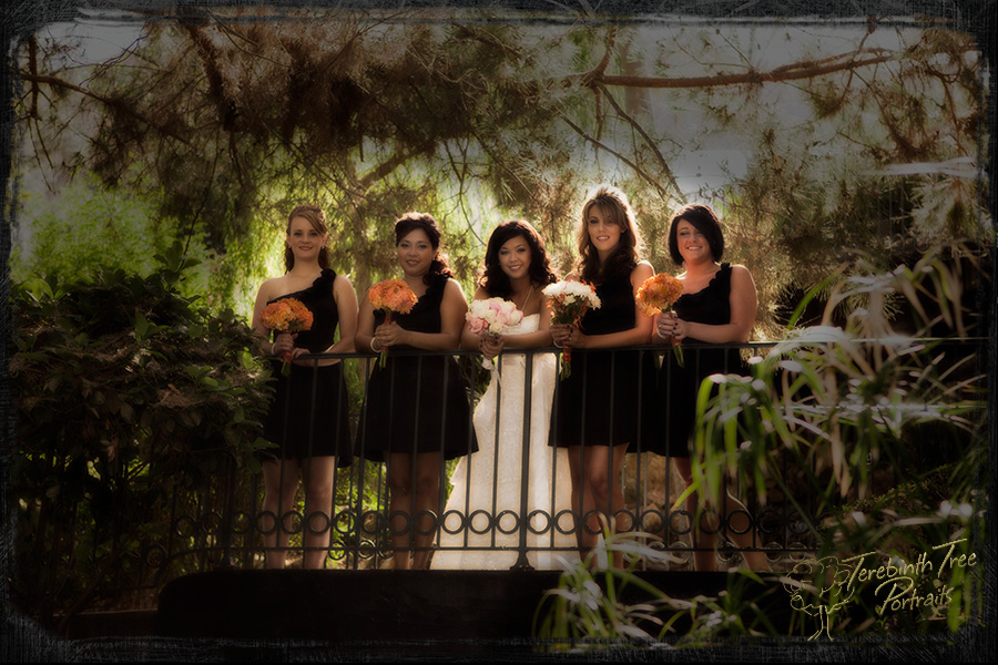Wedding photo of Megan and her bridesmaids standing on a bridge at the Pala Mesa Resort in Fallbrook