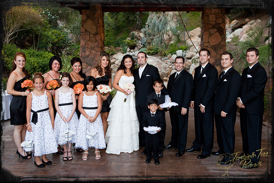 Photo of Megan and Matt's entire wedding party with flower girls, ring bearer and coin bearer at their wedding at the Pala Mesa Resort in Fallbrook
