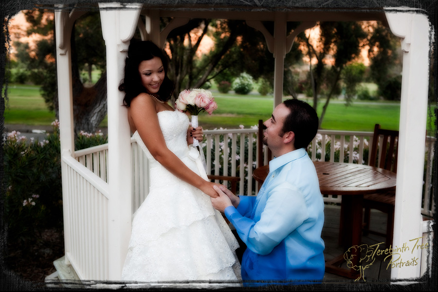 Wedding photo of Matt kneeling before Megan in a gazebo at the Pala Mesa Resort in Fallbrook