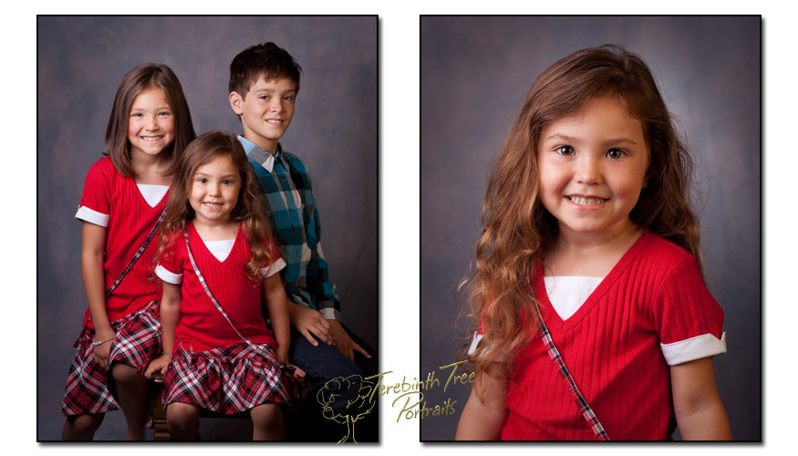 School portraits and photo of sisters and their brother taken in Temecula