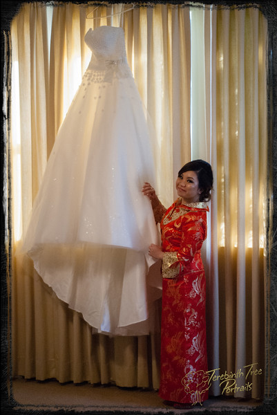 Linda with wedding dress